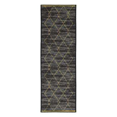 Studio Collection Diamond Trellis Design Yellow 2 ft. x 5 ft. Non-Skid Runner Rug