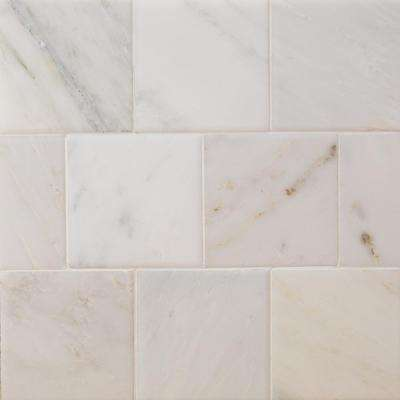 Brushed White Carrara 4 in. x 4 in. Marble Floor and Wall Tile (9-Pieces)