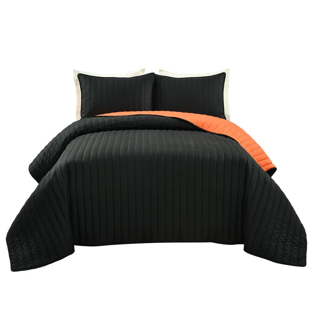 Soft Stripe Black/Orange All Season Quilt/Coverlet Full/ Queen Set (3-Piece)