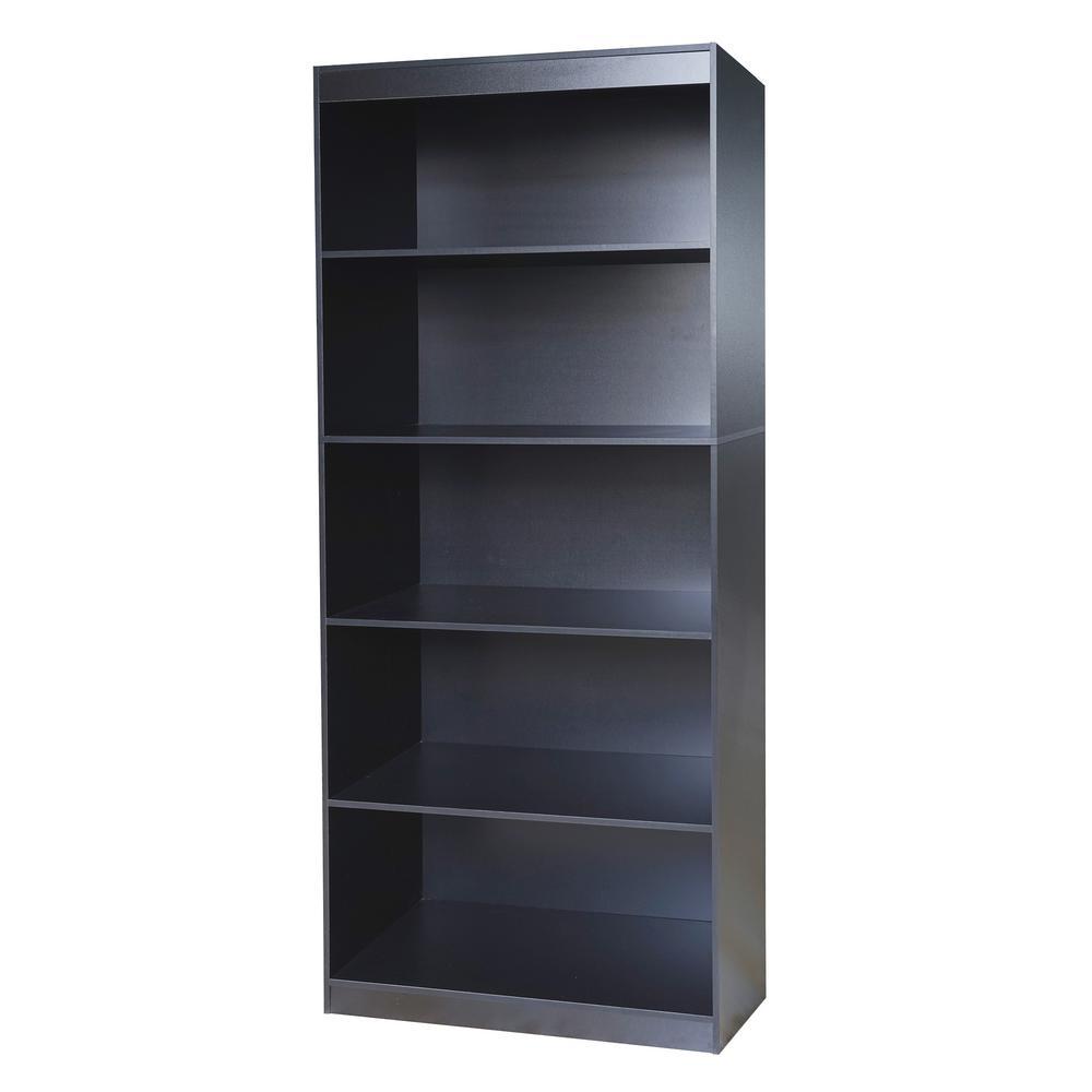Black Sturdy Standard 5-Shelf Bookcase