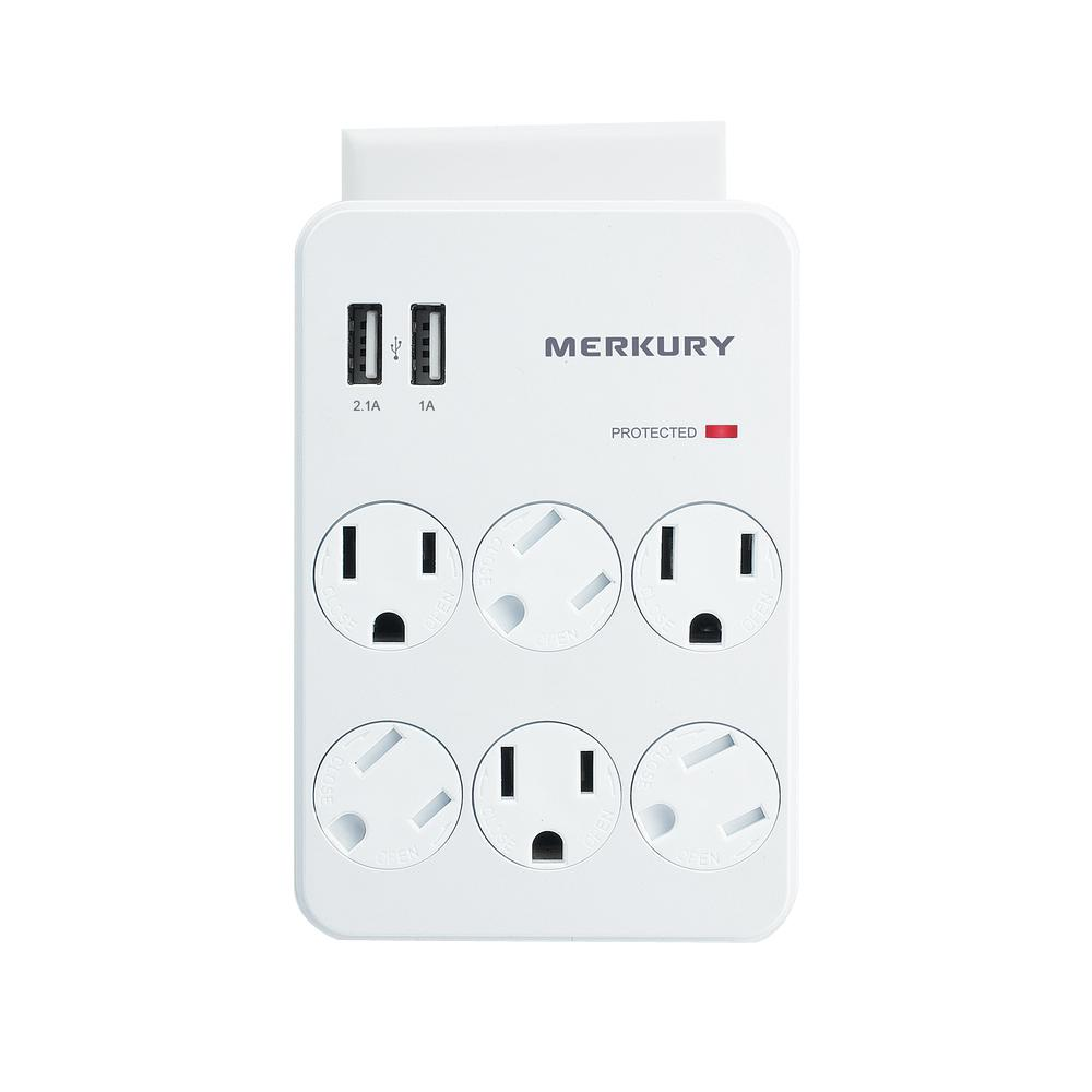 Merkury Innovations 6 AC Outlet and 2 USB 3.1 Amp Wall Su...