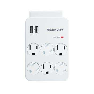 6 AC Outlet and 2 USB 3.1 Amp Wall Surge Protector