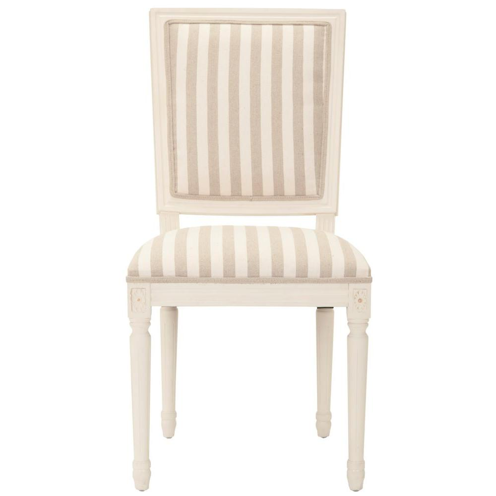 Safavieh Ashton Cream/ Tan Stripe Oak Cotton Side Chair (Set of 2)