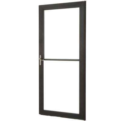 36 in. x 80 in. 3000 Series Black Left-Hand Self-Storing Easy Install Aluminum Storm Door with Nickel Hardware