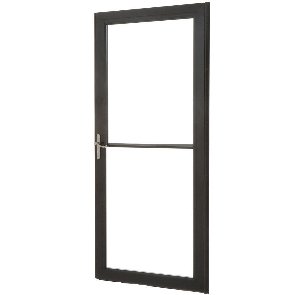 36 in. x 80 in. 3000 Series Black Left-Hand Self-Storing Easy Install Aluminum Storm Door with Nickel Hardware