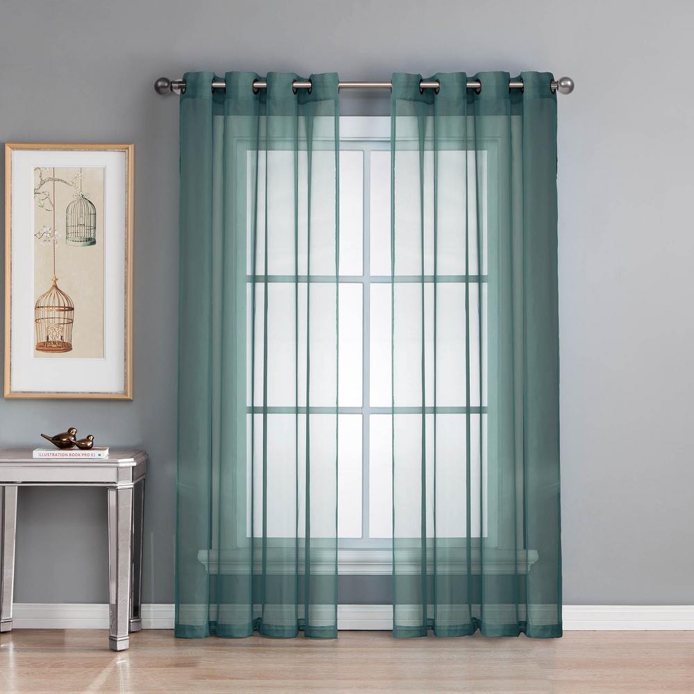Sheer Sheer Elegance 84 in. L Grommet Curtain Panel Pair, Dusty Blue (Set of 2)