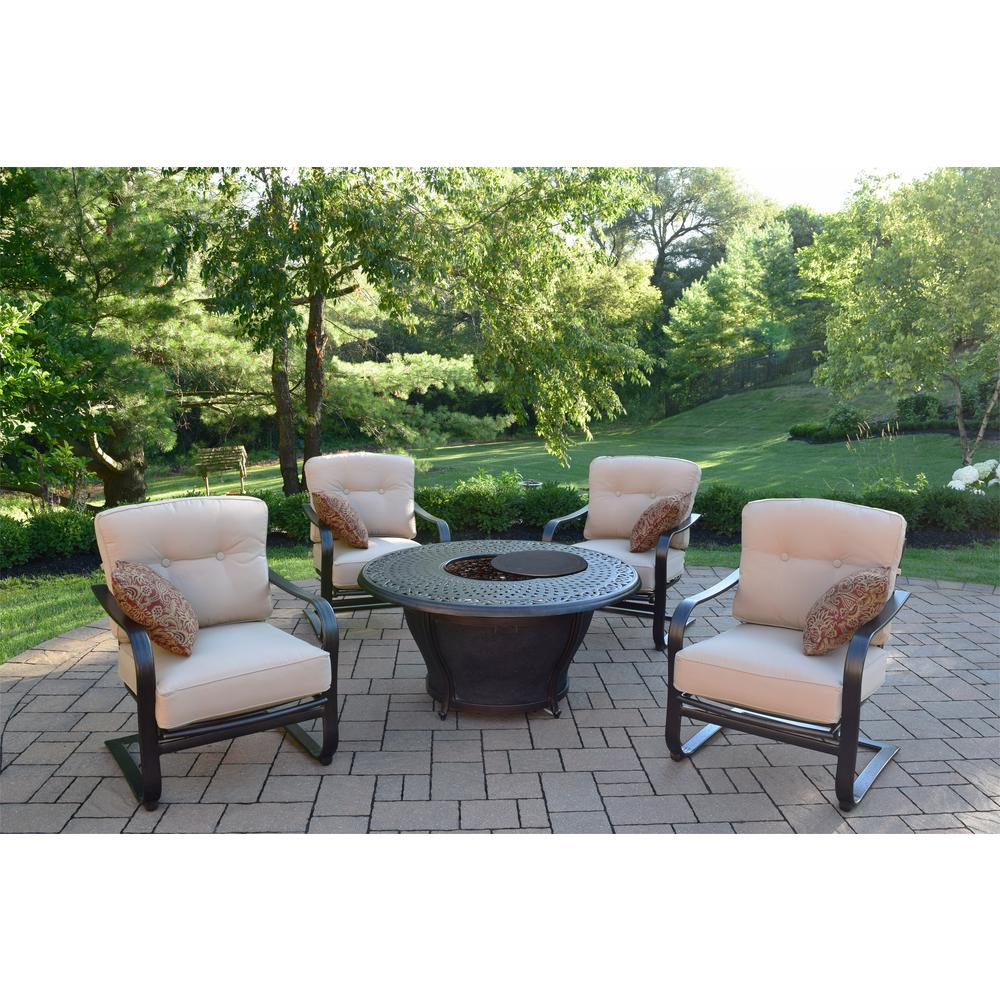 Caledonia 7-Piece Aluminum Patio Fire Pit Conversation Set with Oatmeal Cushions