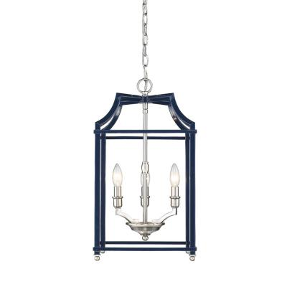 Leighton 3-Light Pewter and Navy Blue Pendant Light