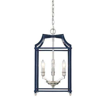 Leighton 3-Light Pewter and Navy Blue Pendant Light