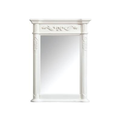 Provence 24 in. W x 33 in. H Framed Rectangular Bathroom Vanity Mirror in Antique White