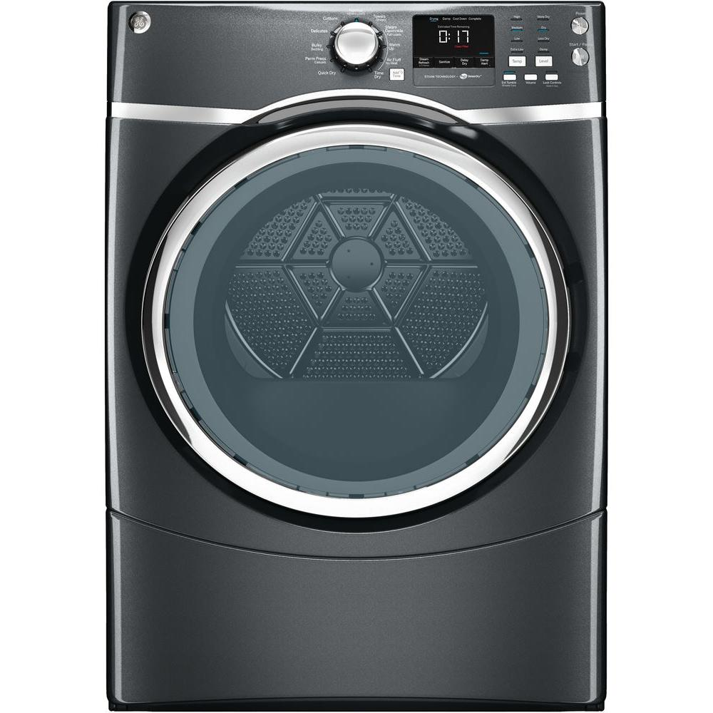 GE 7.5 cu. ft. Electric Dryer with Steam in Diamond Gray