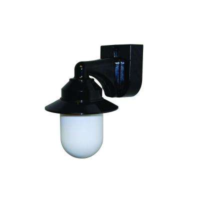 1-Light Black Outdoor Incandescent Short Neck Wall Bracket Fixture