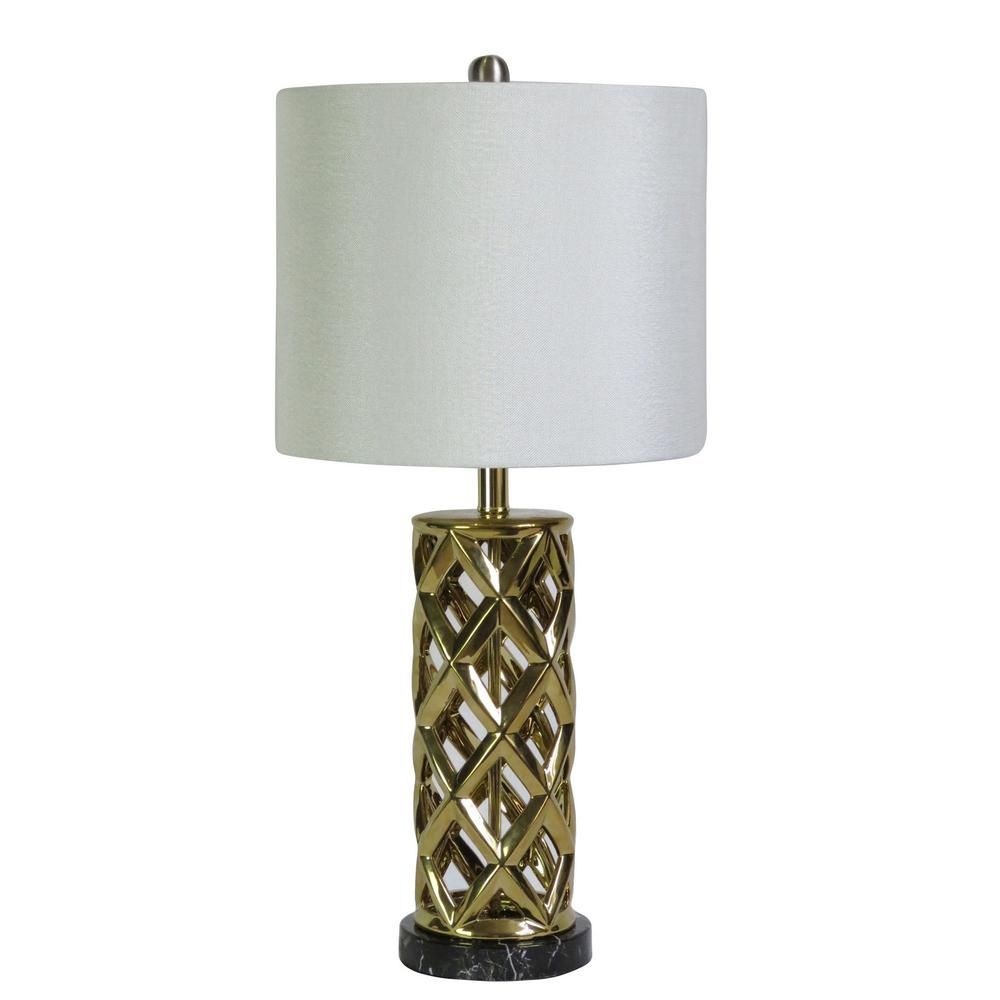 Cylinder Cage Plated Gold And Faux Black Marble Table Lamp