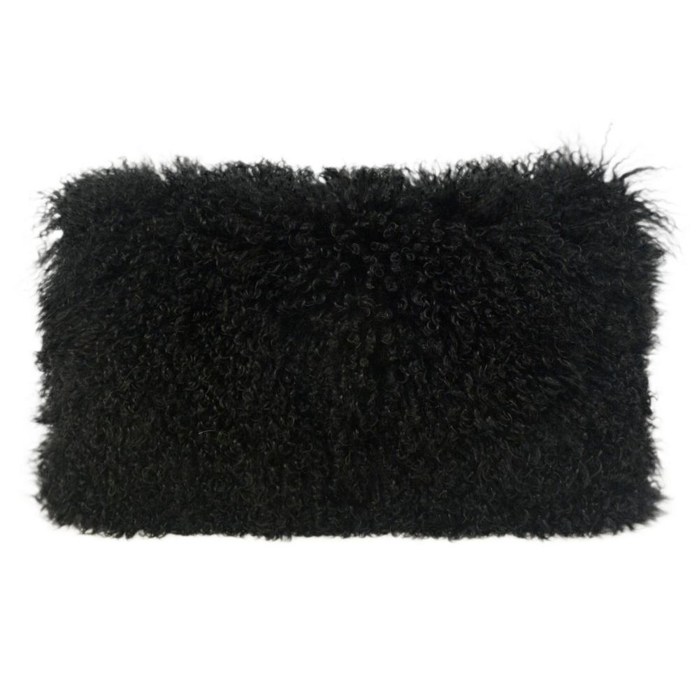 Tibetan Sheep Black Large Throw Pillow