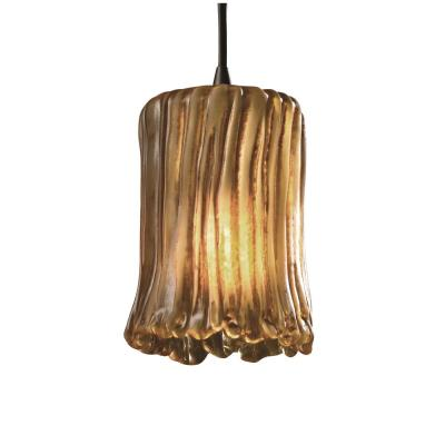 Veneto Luce 1-Light Dark Bronze Pendant with Amber Shade