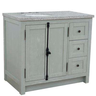 Plantation 37 in. W x 22 in. D x 36 in. H Bath Vanity in Gray Ash with Gray Granite Vanity Top and Left Side Oval Sink