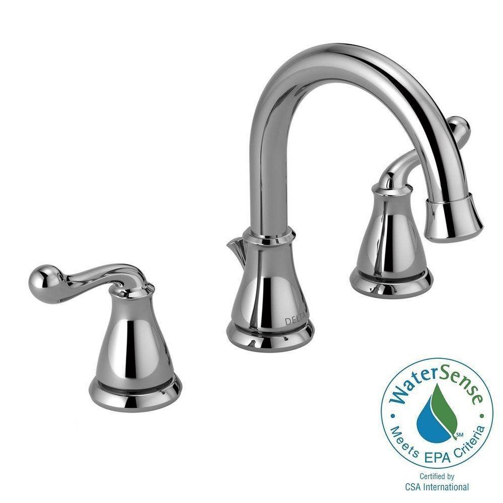 Delta southlake 8 in widespread 2 handle bathroom faucet in chrome 35755lf the home depot for Delta widespread bathroom faucet