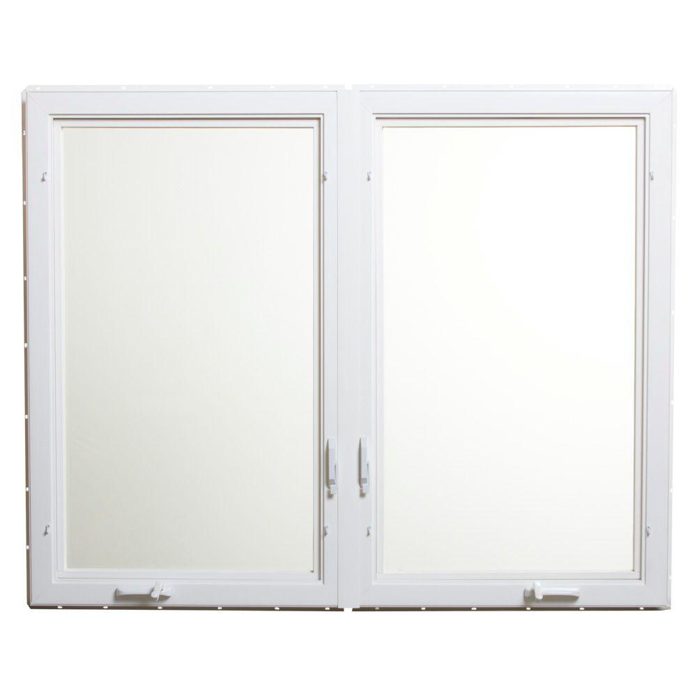 Tafco windows 60 in x 48 in vinyl casement window with for Window home depot