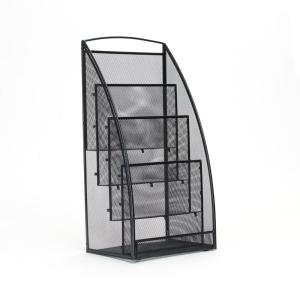Mind Reader Skim 4-Pocket Metal Mesh Newspaper and Magazine Rack in Black by Mind Reader