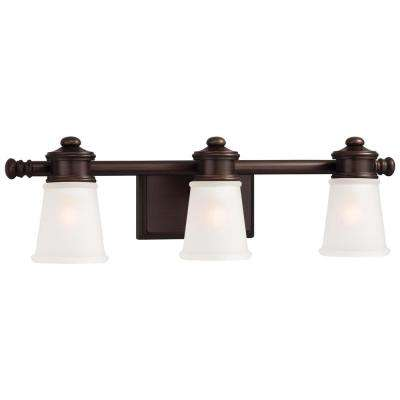 3-Light Dark Brushed Bronze with Etched White Glass Bath Vanity Light