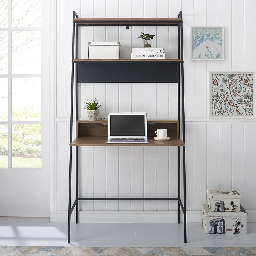 36 in. Mocha Urban Industrial Mid Century Modern Metal and Wood Ladder Desk
