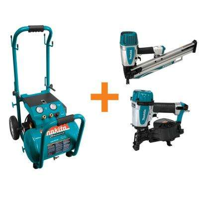 5.2 Gal. 3.0 HP Electric Single Tank Air Compressor and Makita Nailers Bundle Pack