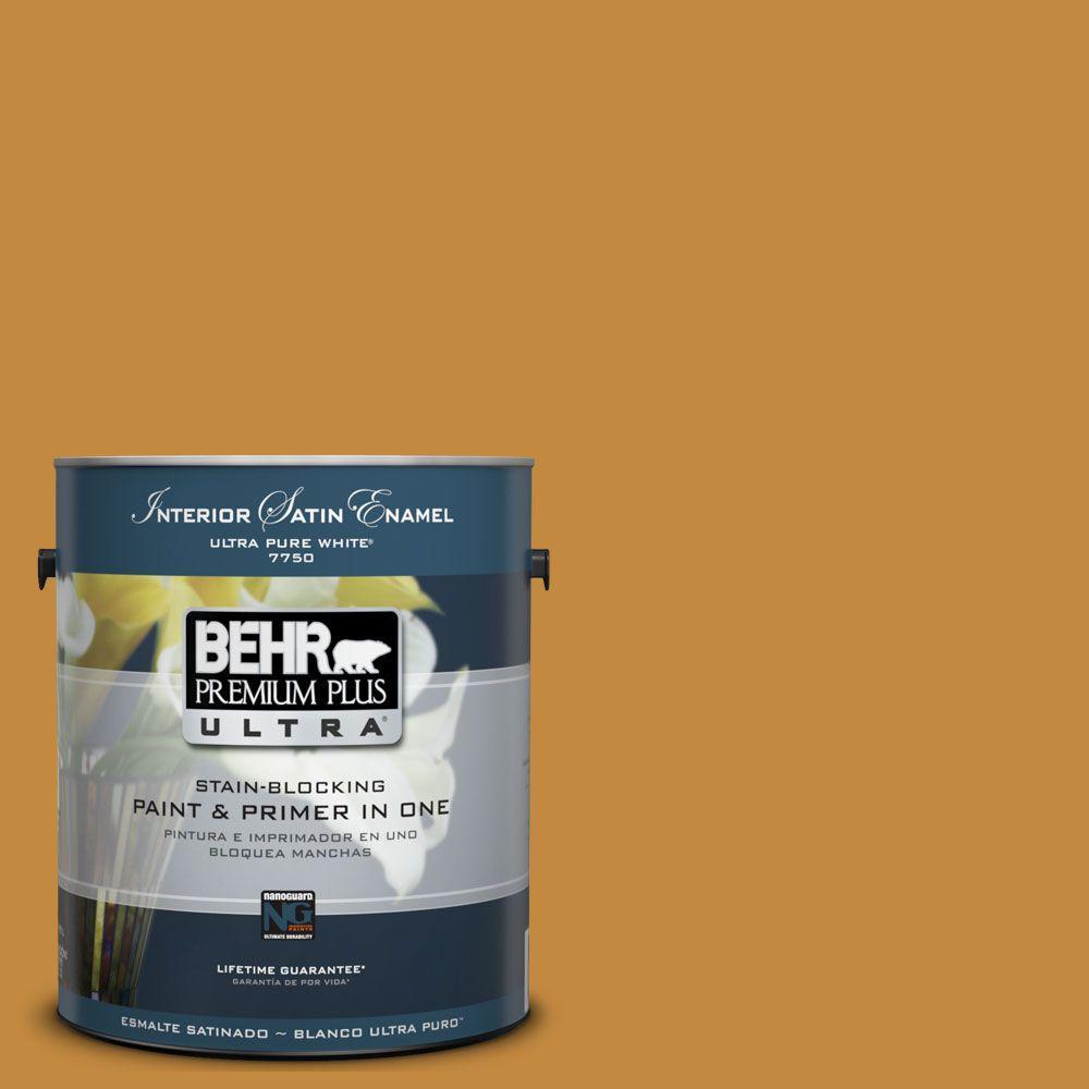 BEHR Premium Plus Ultra 1-Gal. #UL150-1 Golden Leaf Interior Satin Enamel Paint