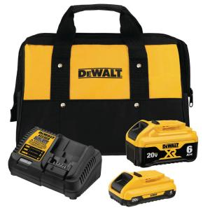 Dewalt DCB246CK 20-Volt MAX Lithium-Ion Starter Kit (6.0Ah Battery, 4.0Ah Battery, Charger, Kit Bag) + Free Tool (up to $199 value)