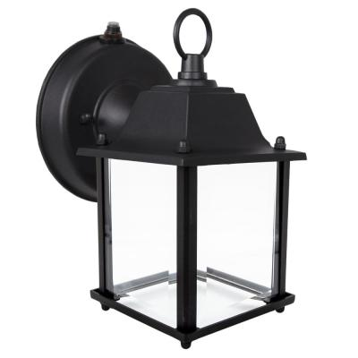 1-Light Black LED Outdoor Wall Lantern Sconce with Dusk to Dawn Sensor
