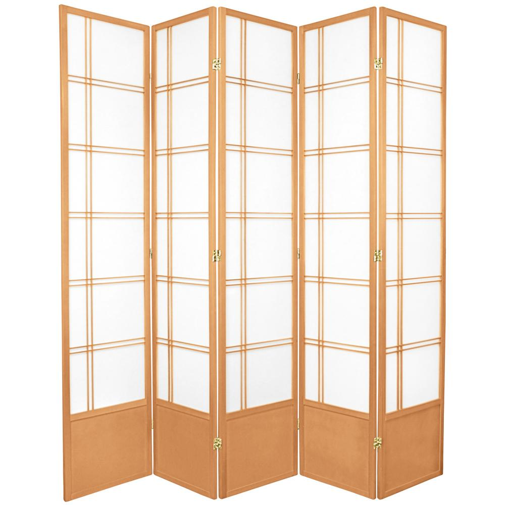 7 ft Natural 5 Panel Room Divider 84 DC NAT 5P The Home Depot