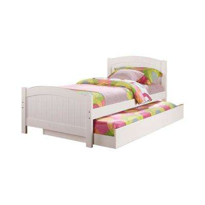 Stylish White Twin Bed with Trundle