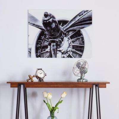 "24 in. H x 32 in. W ""Old Aircraft Propeller"" Engine Glass Wall Art"