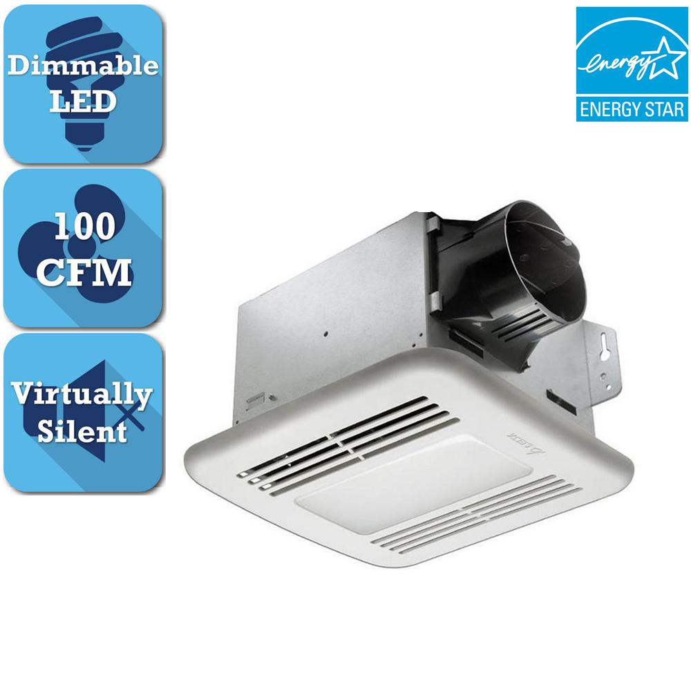 GreenBuilder Series 100 CFM Ceiling Bathroom Exhaust Fan with Dimmable LED