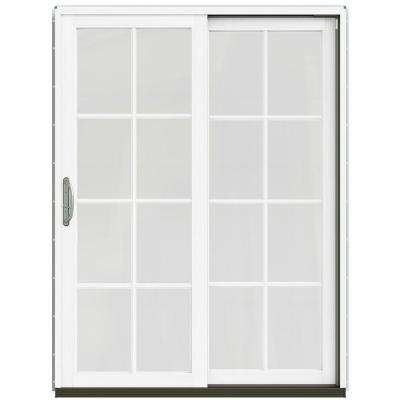 59-1/4 in. x 79-1/2 in. W-2500 French Vanilla Prehung Right-Hand Clad-Wood Sliding Patio Door with 8-Lite Grids