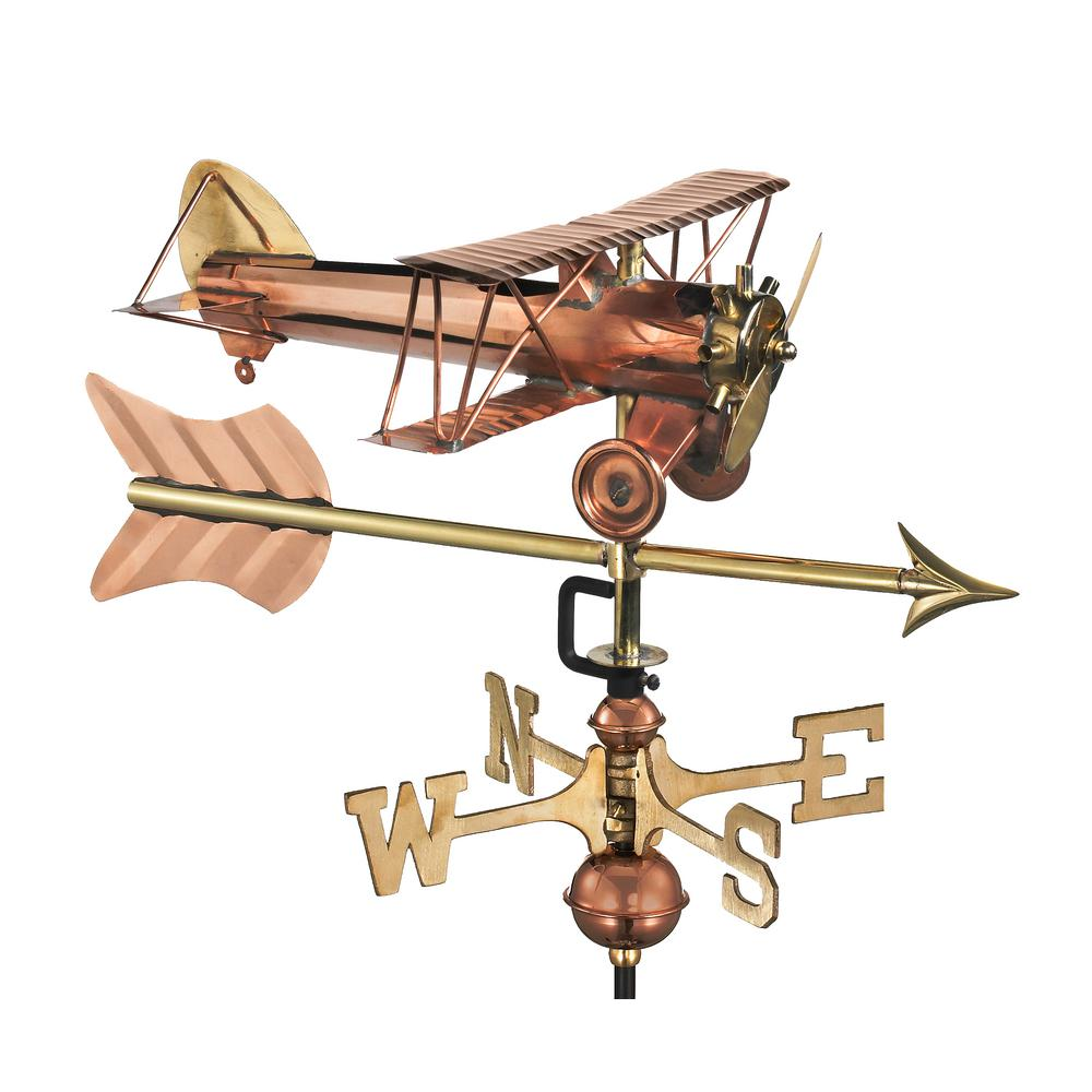 Biplane with Arrow Garden Weathervane-Pure Copper with Garden Pole