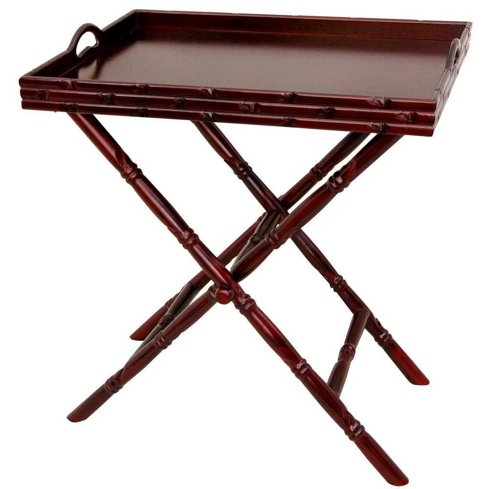 Oriental Furniture 24 in. x 15 in. Tea Tray with Trestle ...