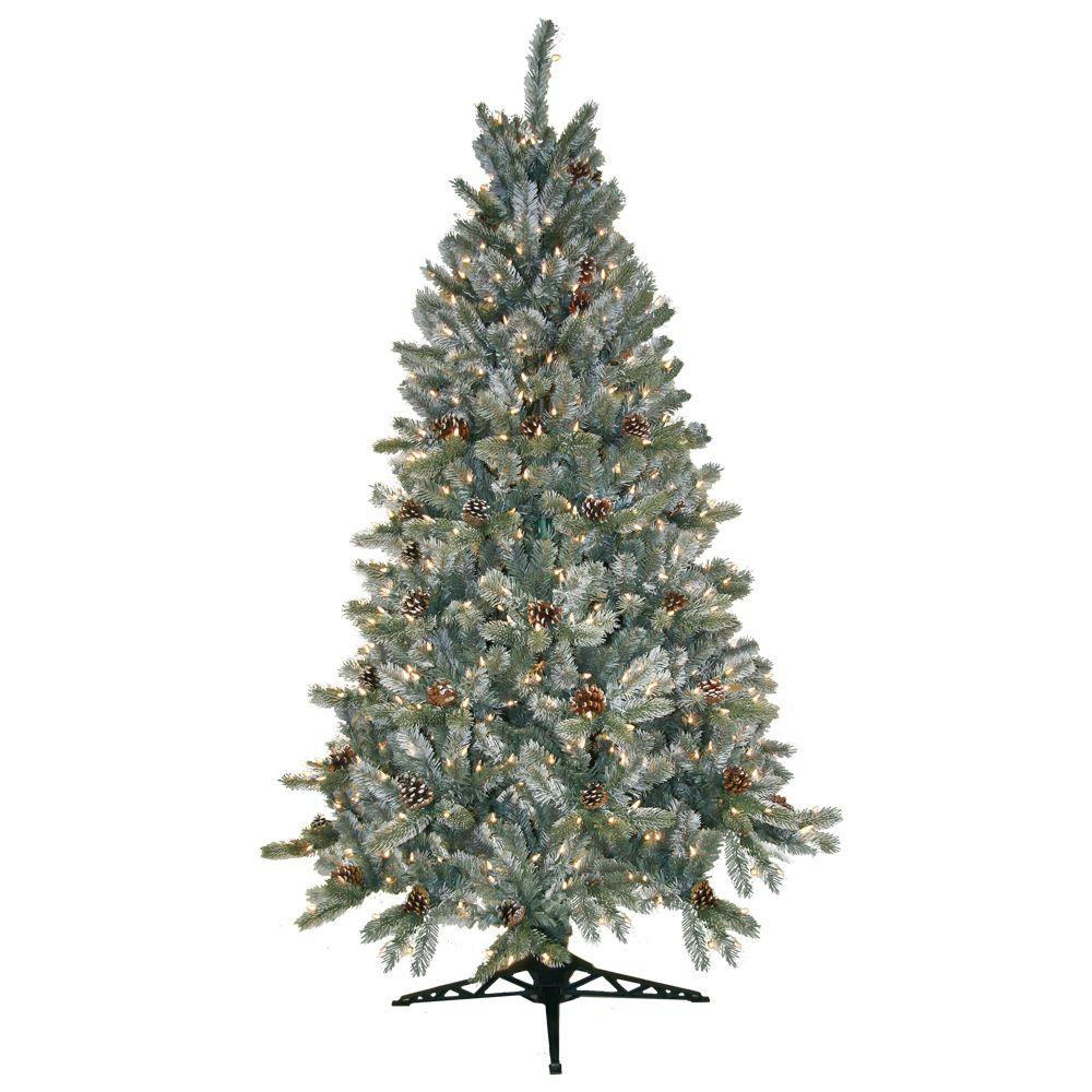General Foam 6.5 ft. Pre-Lit Siberian Frosted Pine Artificial ...