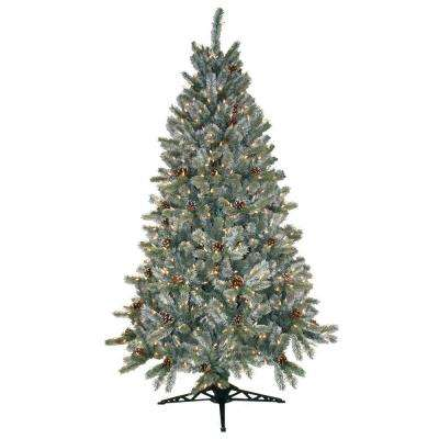 6.5 ft. Pre-Lit Siberian Frosted Pine Artificial Christmas Tree with Clear Lights and Pine Cones