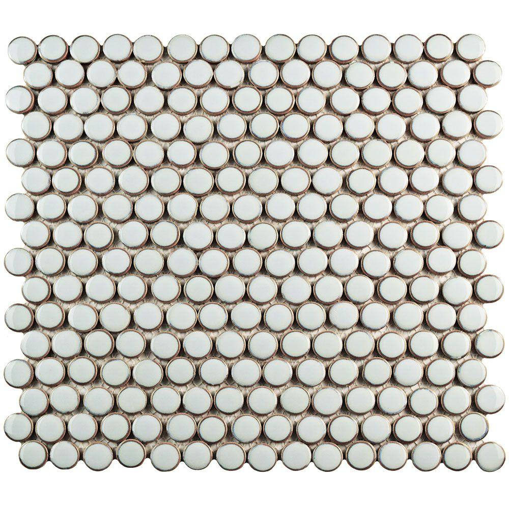 Merola Tile Hudson Penny Round Silk White 12 in. x 12-5/8 in. x 5 mm Porcelain Mosaic Tile
