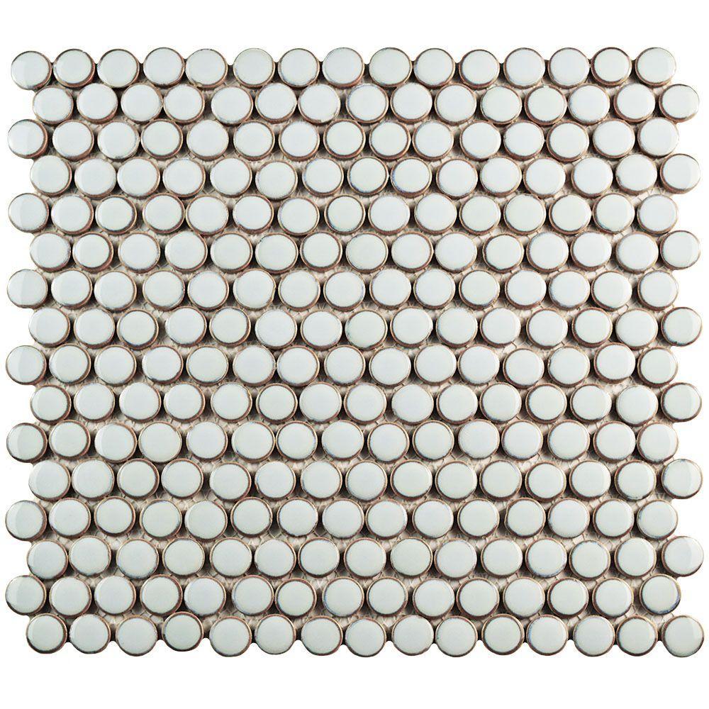 Hudson Penny Round Silk White 12 in. x 12-5/8 in. x