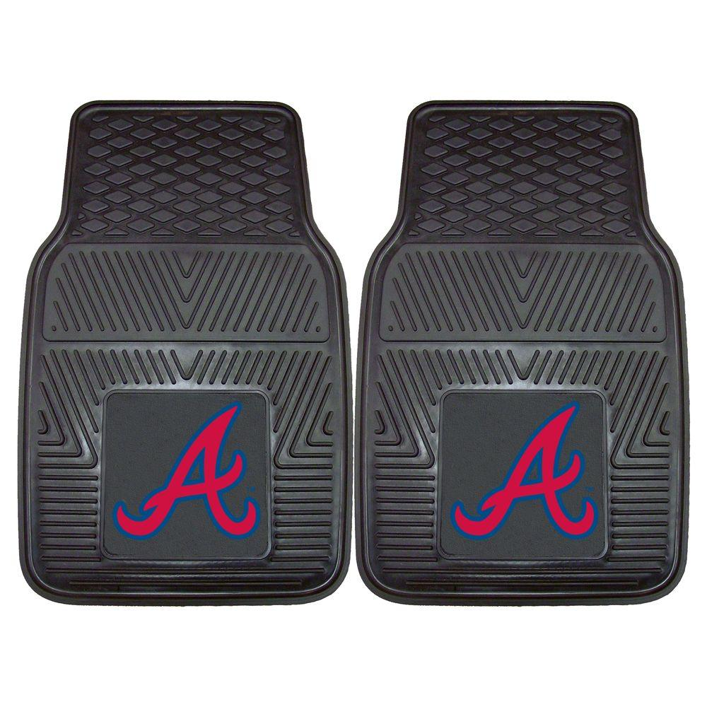 FANMATS Atlanta Braves 18 in. x 27 in. 2-Piece Heavy Duty Vinyl Car Mat