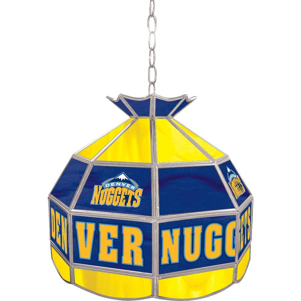 Trademark Denver Nuggets NBA 16 in. Nickel Hanging Tiffany Style Lamp
