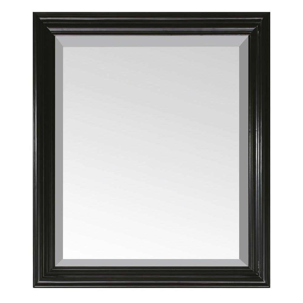 Milano 30 in. W x 26 in. L Framed Wall Mirror in Black