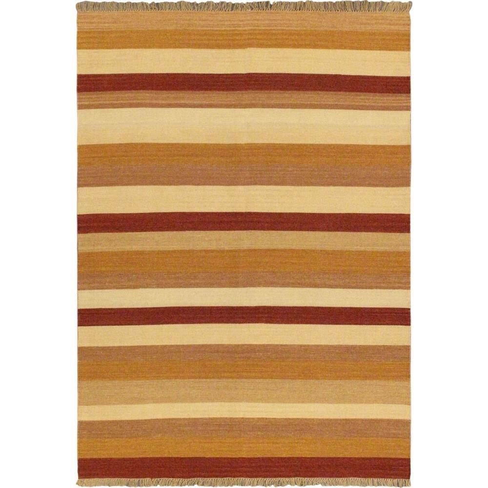 Ecarpet Gallery Fiesta Brown Orange Wool Kilim 6 Ft X 8