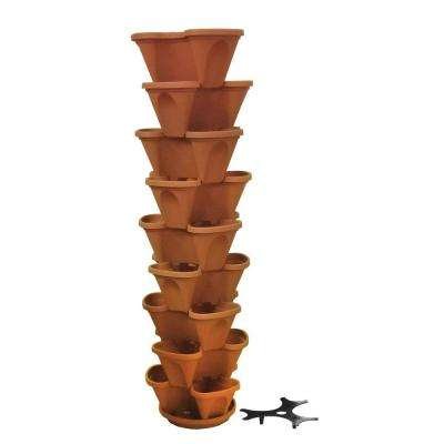 12 in. Self Watering Terracotta Stacking Plastic Planter Set (9-Pack)