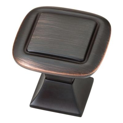 Southampton 1-1/4 in. (32mm) Bronze with Copper Highlights Double Square Cabinet Knob