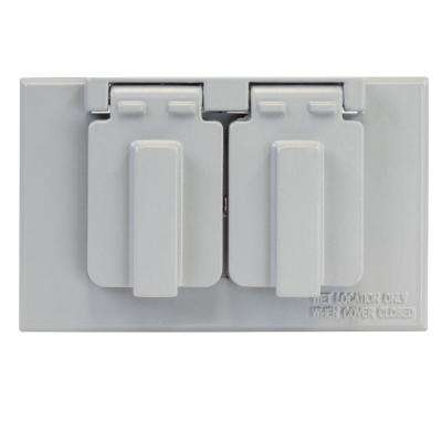 Gray 1-Gang Duplex Weatherproof Outlet Cover