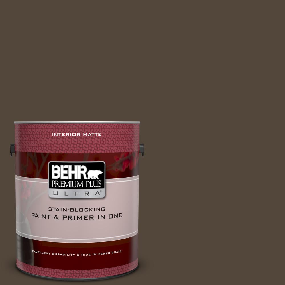 BEHR Premium Plus Ultra 1 gal. #N210-7 Havana Coffee Matte Interior Paint and Primer in One