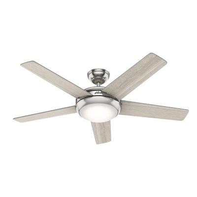 Barton 52 in. LED Indoor Brushed Nickel Ceiling Fan with Light and Remote Control