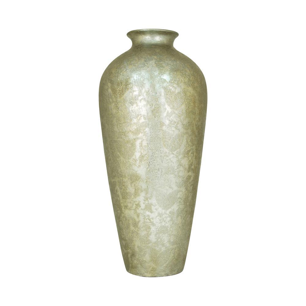 Virginia 28 in. Ceramic Decorative Vase in Embellished Silver